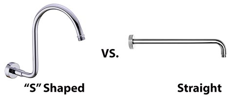 s shaped vs straight shower arm