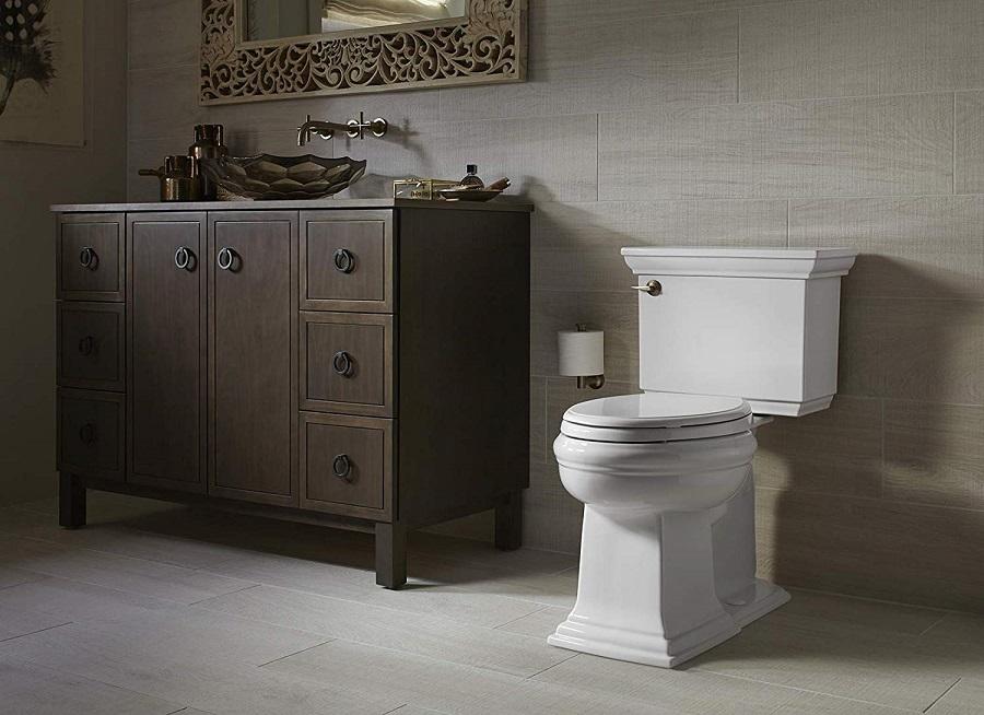 KOHLER K-6669-0 Memoirs Stately as the best kohler comfort height toilet in a bathroom setting