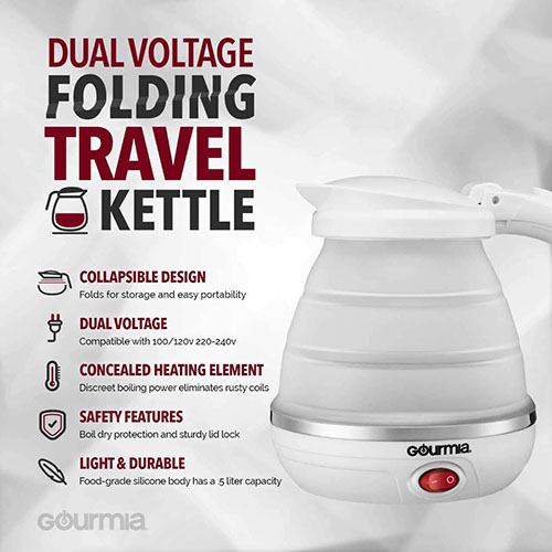 best small dual voltage kettle for travel that can also be folded
