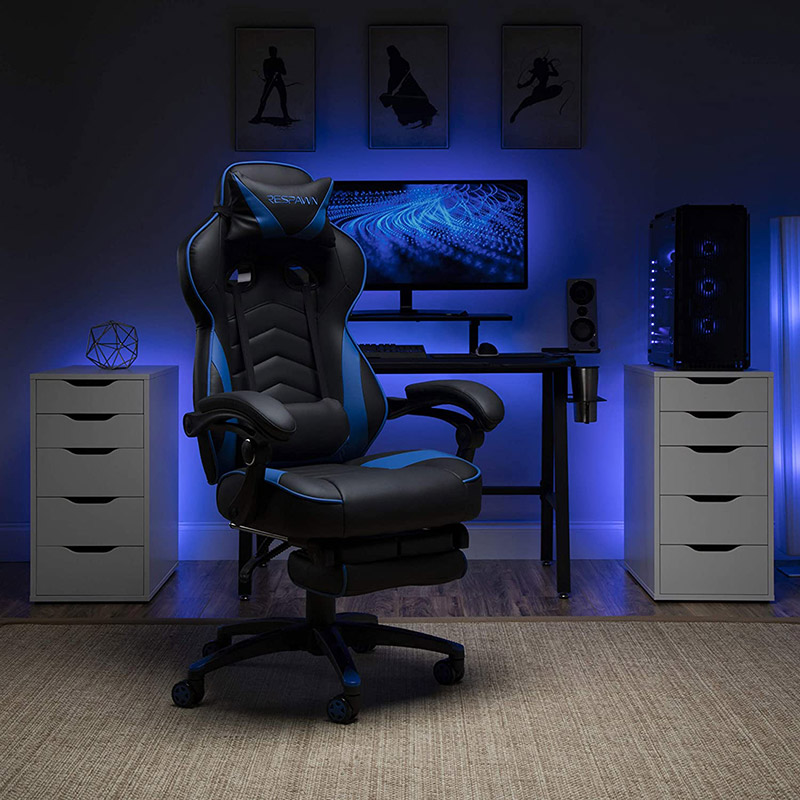 comfortable respawn 110 in blue with a gaming background in a students room