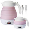 pink travel kettle with dual voltage cables