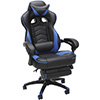 thick padding gaming chair in blue and black with footrest for comfortable gaming