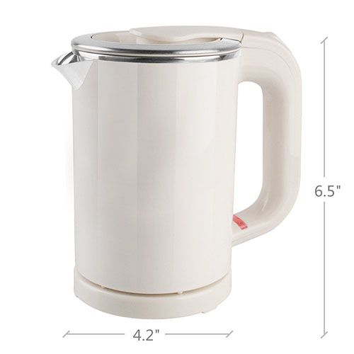 standard non collapsible travel kettle made out of stainless steel in white color